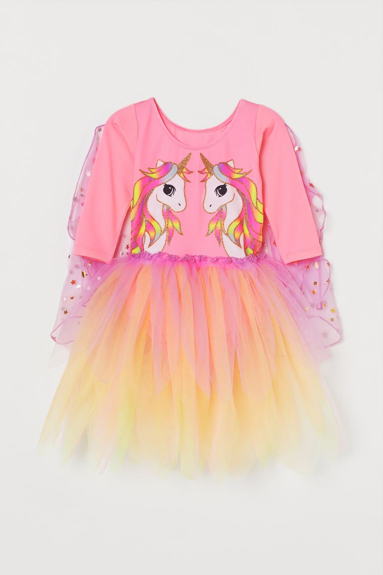 Dance dress with a tulle skirt - Pink/Unicorn -    H&M GB