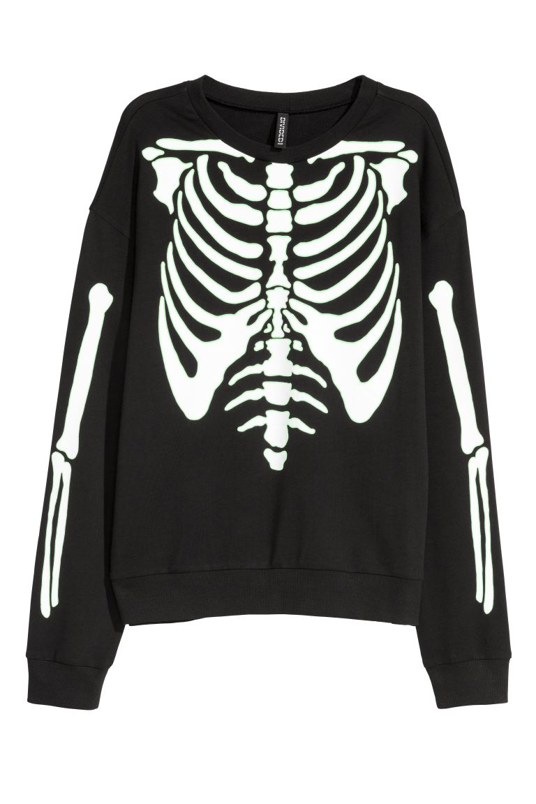 Printed sweatshirt - Black/Skeleton - Ladies | H&M