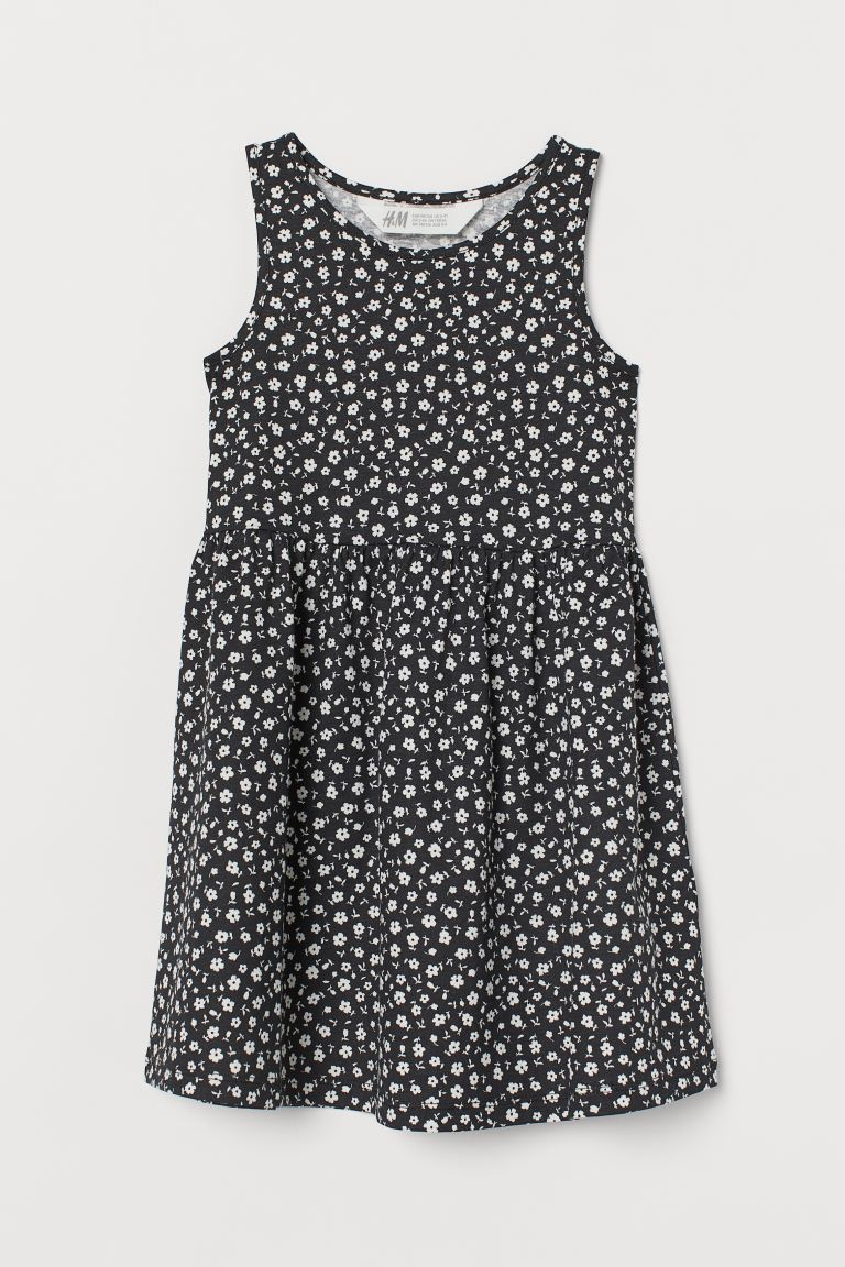 Patterned Jersey Dress - Black/floral -  | H&M US