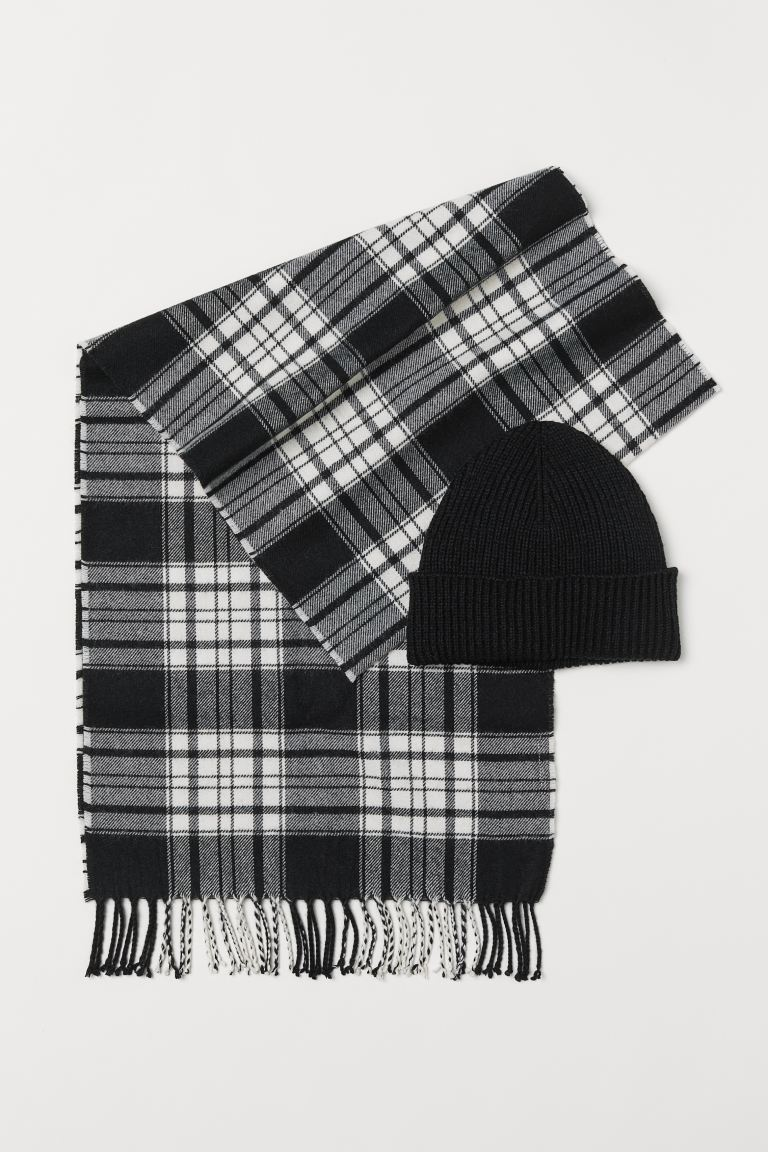 Hat and Scarf - Black/checked - Men | H&M US