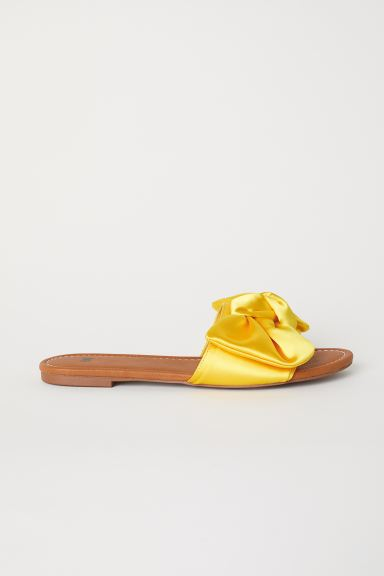 Slides with a bow - Bright yellow - Ladies | H&M GB