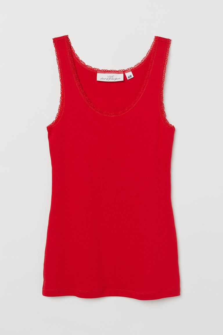 Lace-trimmed Tank Top - Bright red - Ladies | H&M US