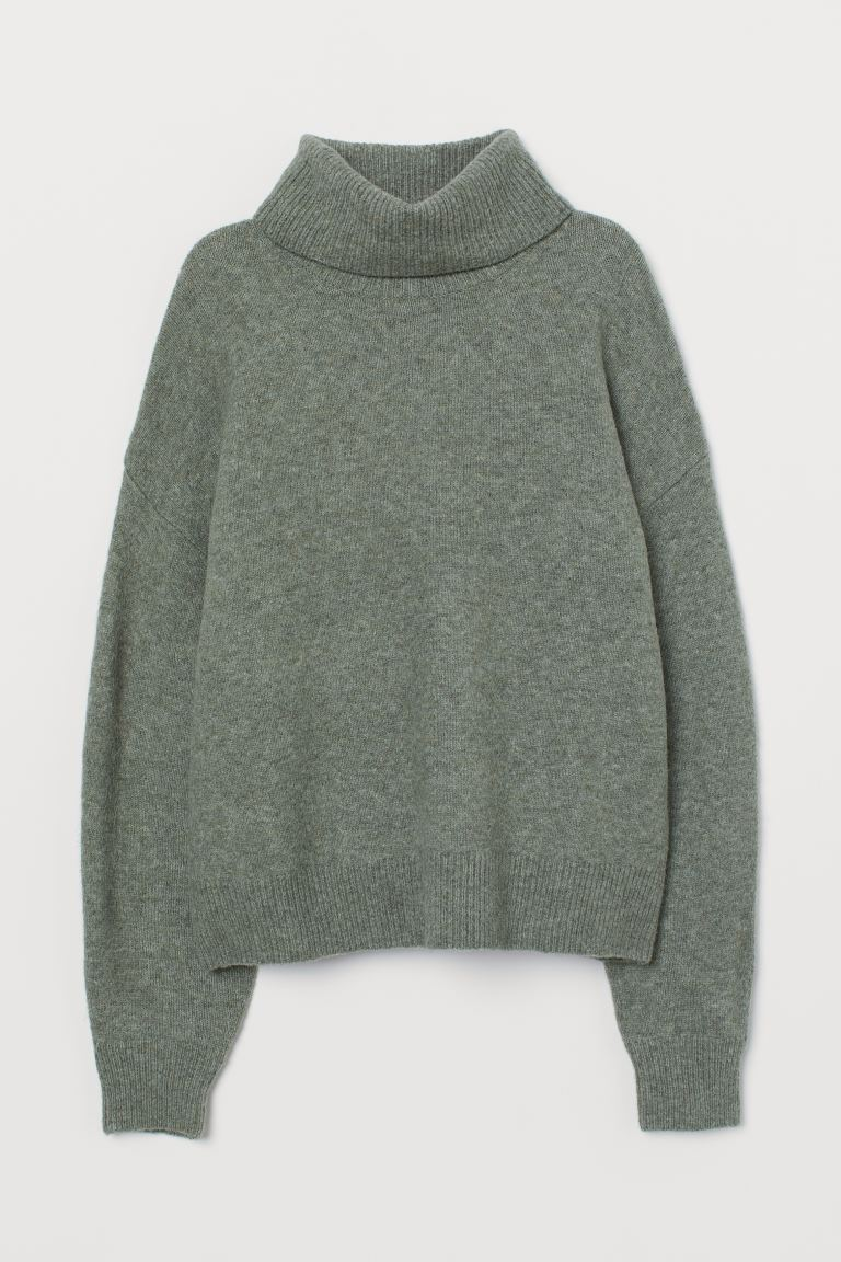 Knit Turtleneck Sweater - Dusky green melange - Ladies | H&M US