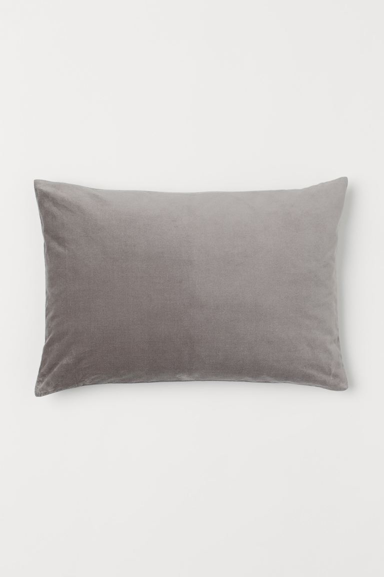 Cotton velvet cushion cover - Dark grey - Home All | H&M IE