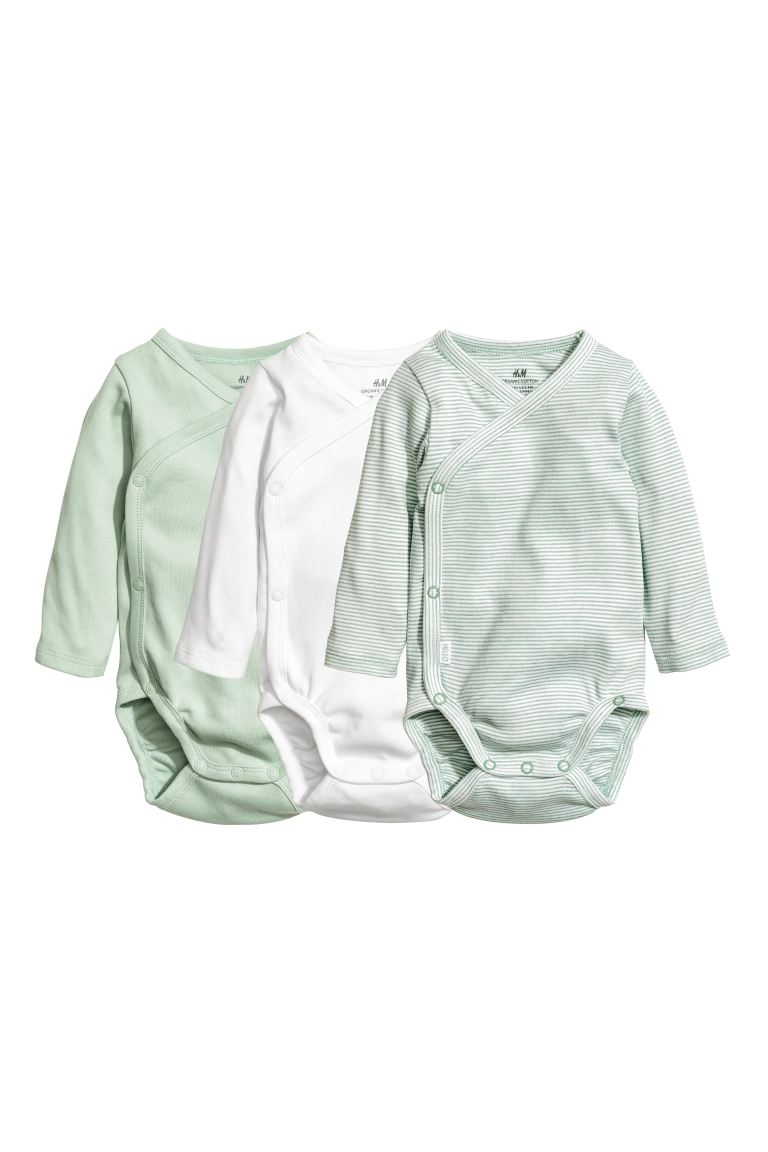 3-pack wrapover bodysuits - Dusky green - Kids | H&M GB