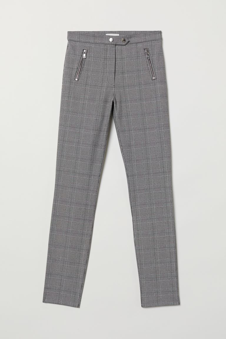Tailored stretch trousers - Black/Dogtooth-patterned - Ladies | H&M