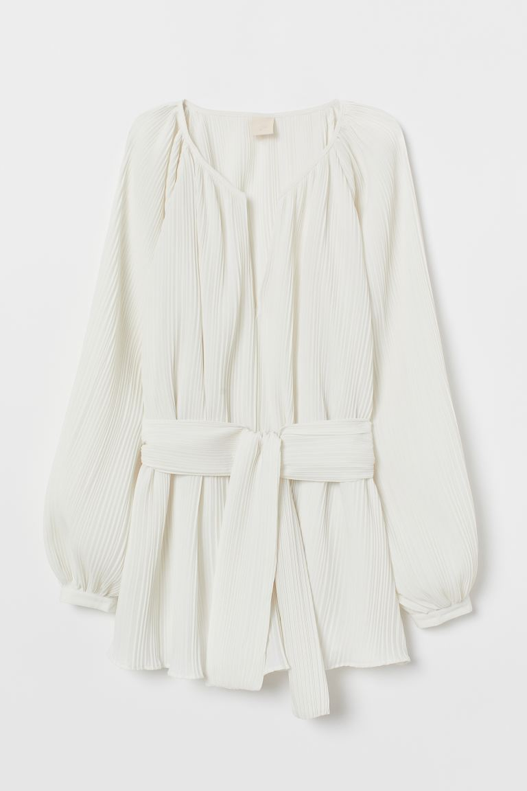 Pleated blouse with belt - Cream - Ladies | H&M