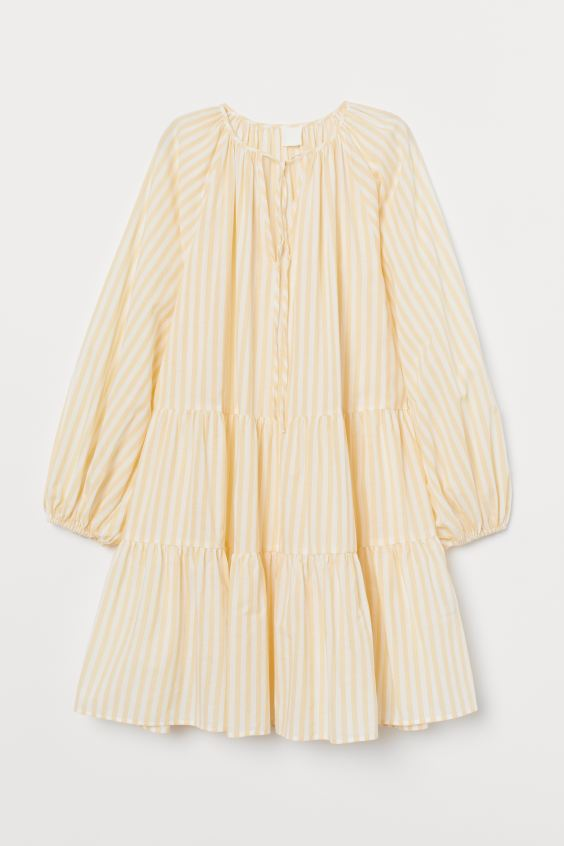 Puff-sleeved Dress - Light yellow/white striped - Ladies | H&M US 4