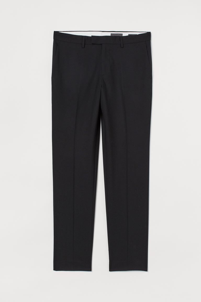 Pantaloni in lana Slim Fit - Nero - UOMO | H&M IT