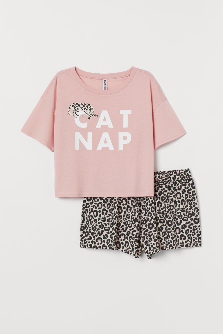 Top y shorts de pijama - Rosa claro/Cat Nap - Ladies | H&M MX
