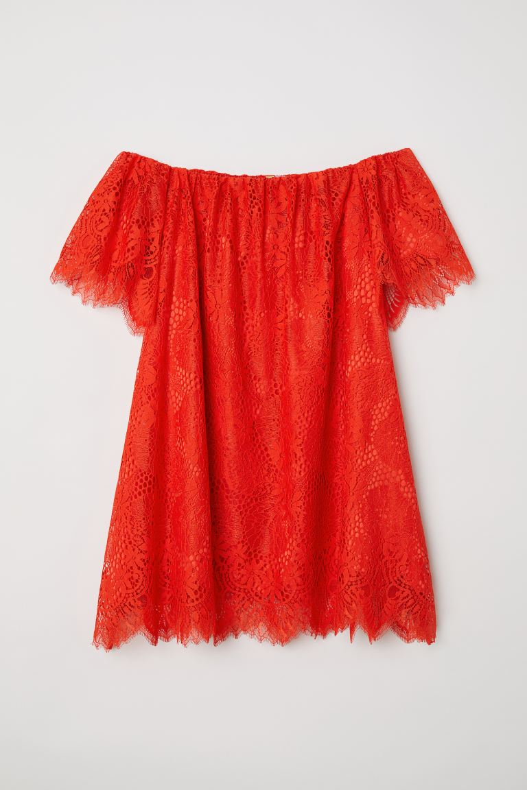 Off-the-shoulder lace dress - Bright red - Ladies | H&M IN