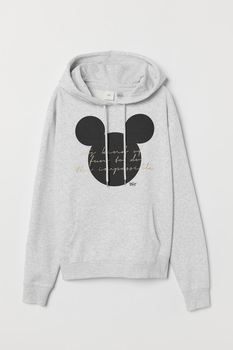 Printed hooded top - Light grey marl/Mickey Mouse - Ladies | H&M GB