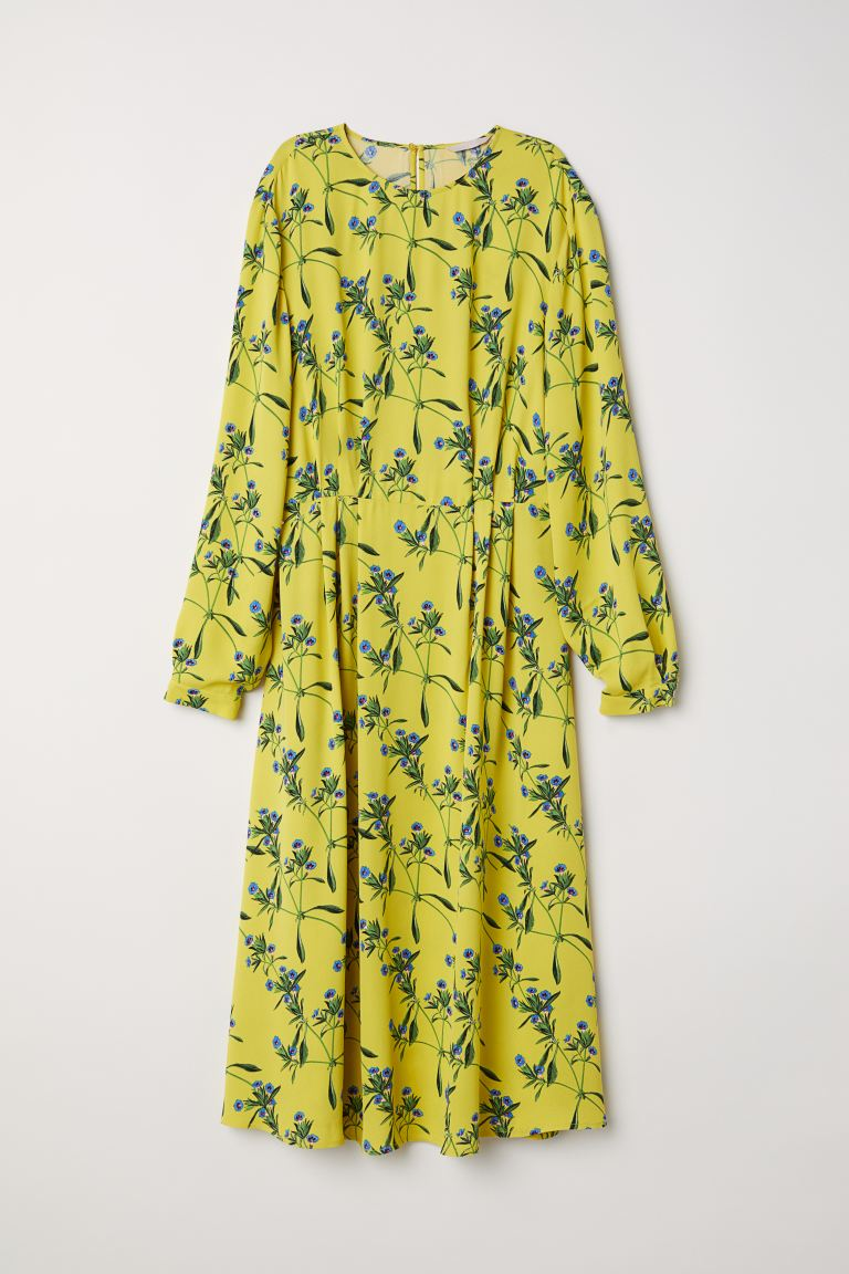 Patterned dress - Yellow/Floral - Ladies | H&M GB