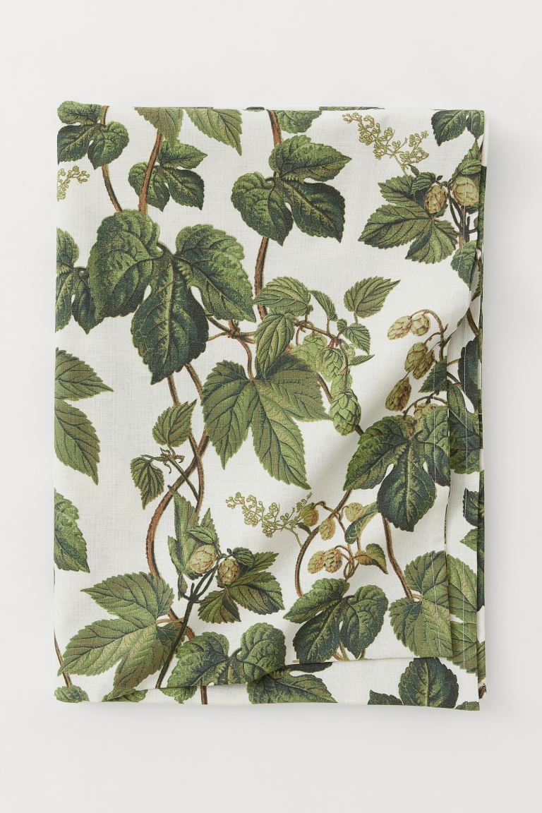 Cotton-blend tablecloth - Natural white/Leaf-patterned - Home All | H&M IE