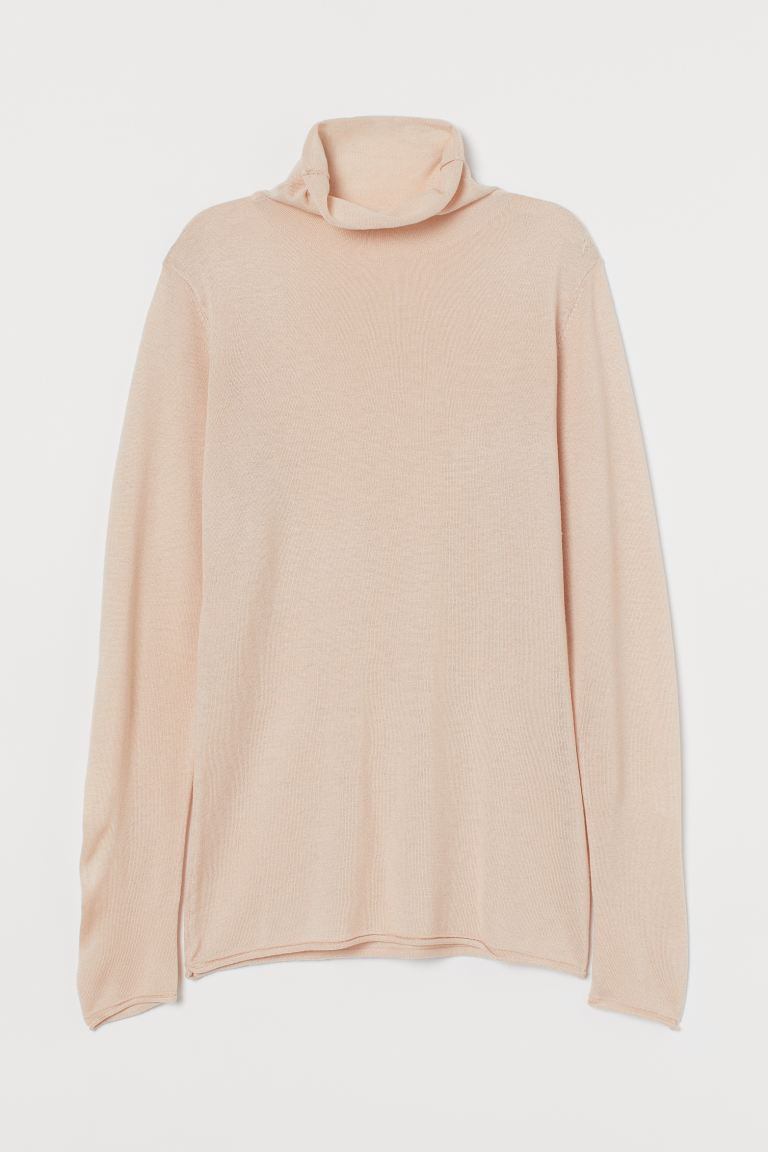 Fine-knit polo-neck jumper - Powder beige - Ladies | H&M