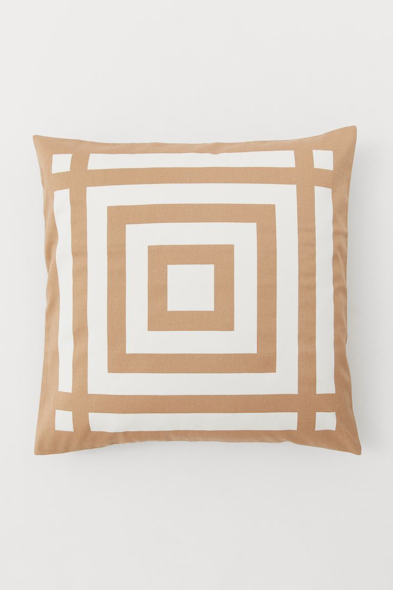 Cotton Satin Cushion Cover - Beige/white - Home All | H&M US
