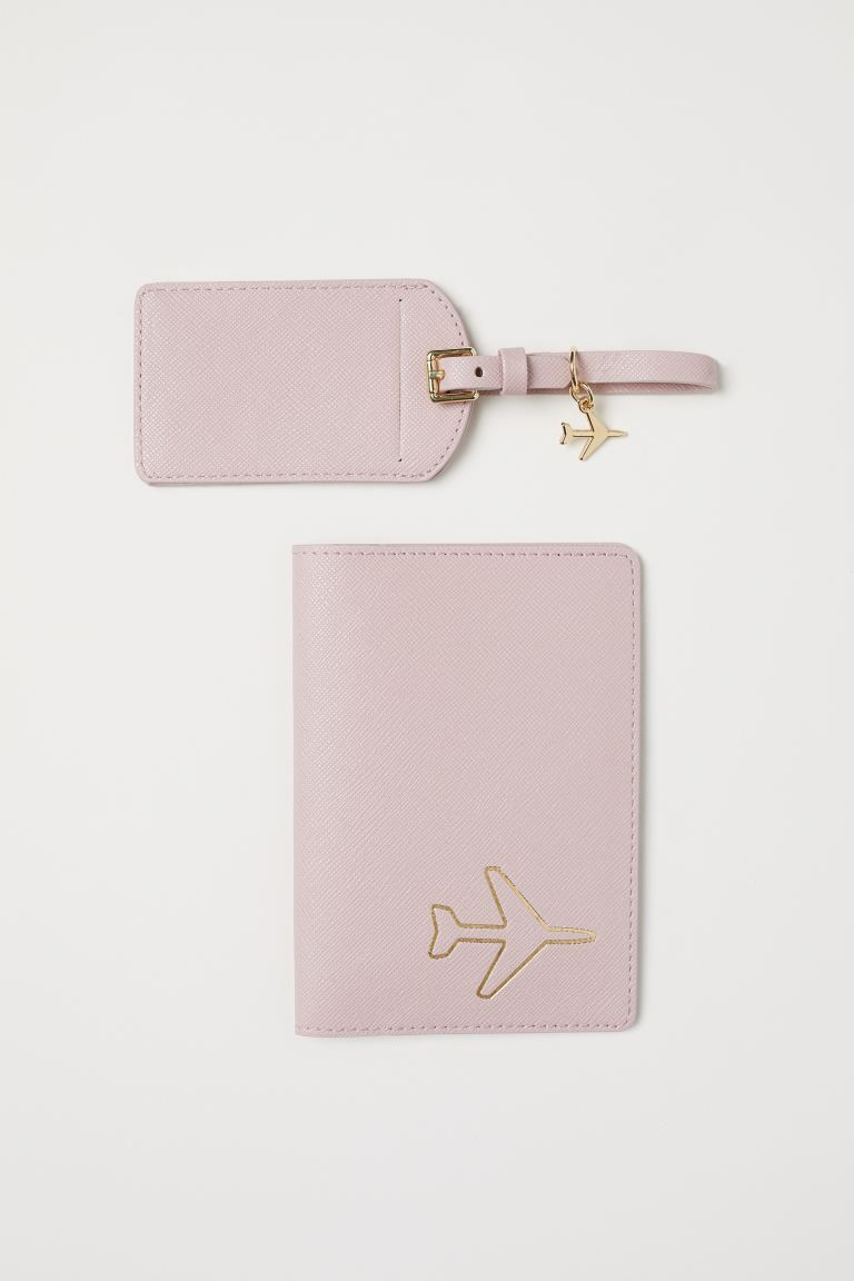 Passport Cover and Luggage Tag - Dusty rose - Ladies | H&M US