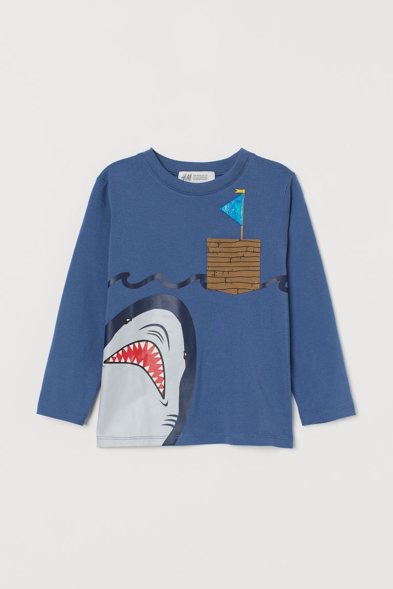 Printed jersey top - Blue/Shark - Kids   H&M GB