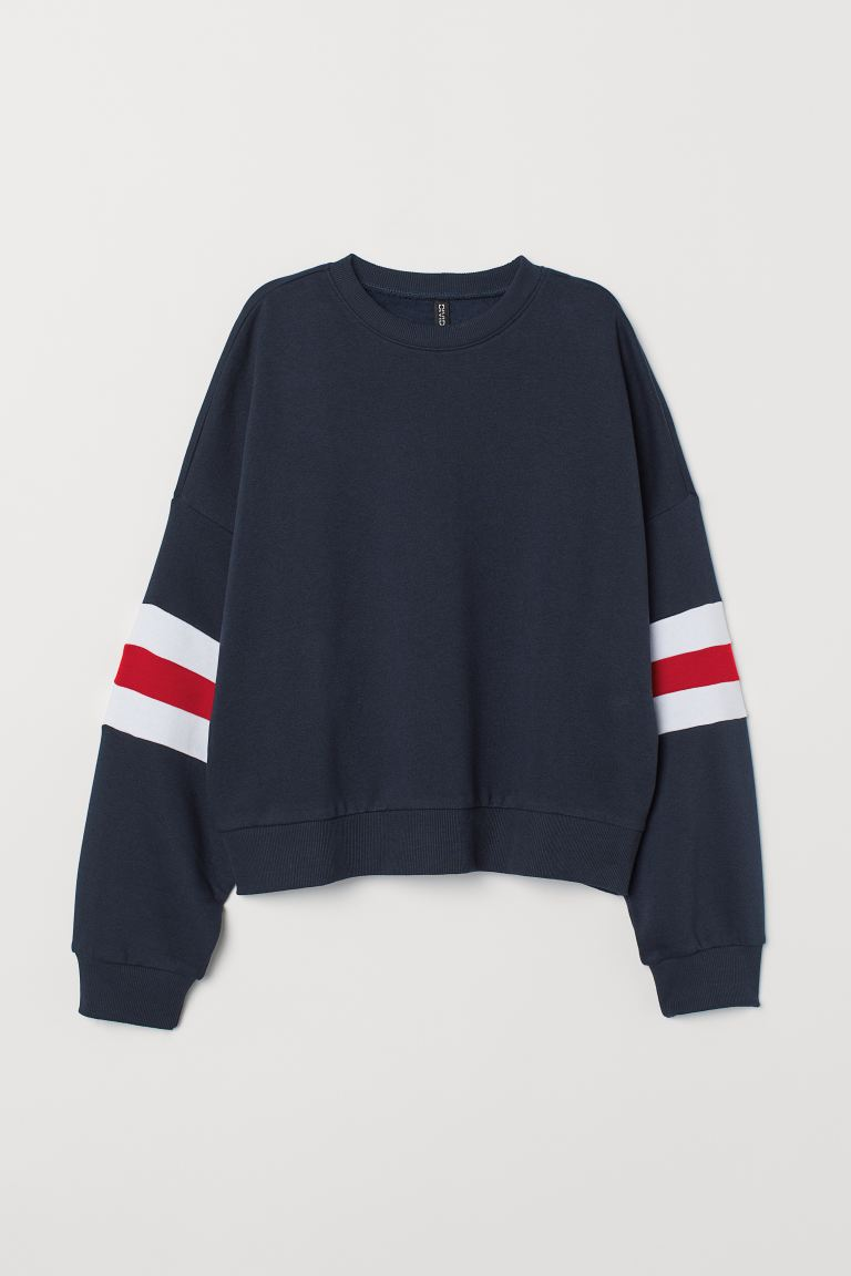 Block-coloured sweatshirt - Dark blue/White - Ladies | H&M