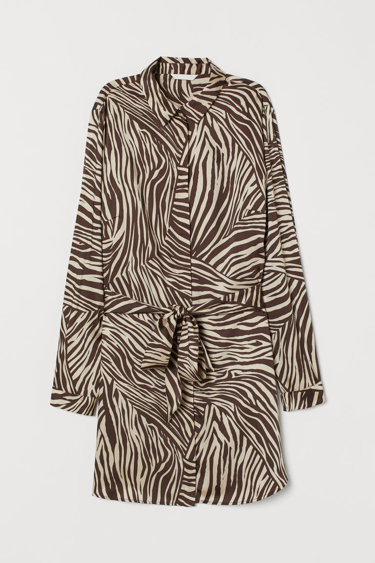 H&M+ Blouse with Tie Belt - Brown/zebra print - Ladies | H&M US