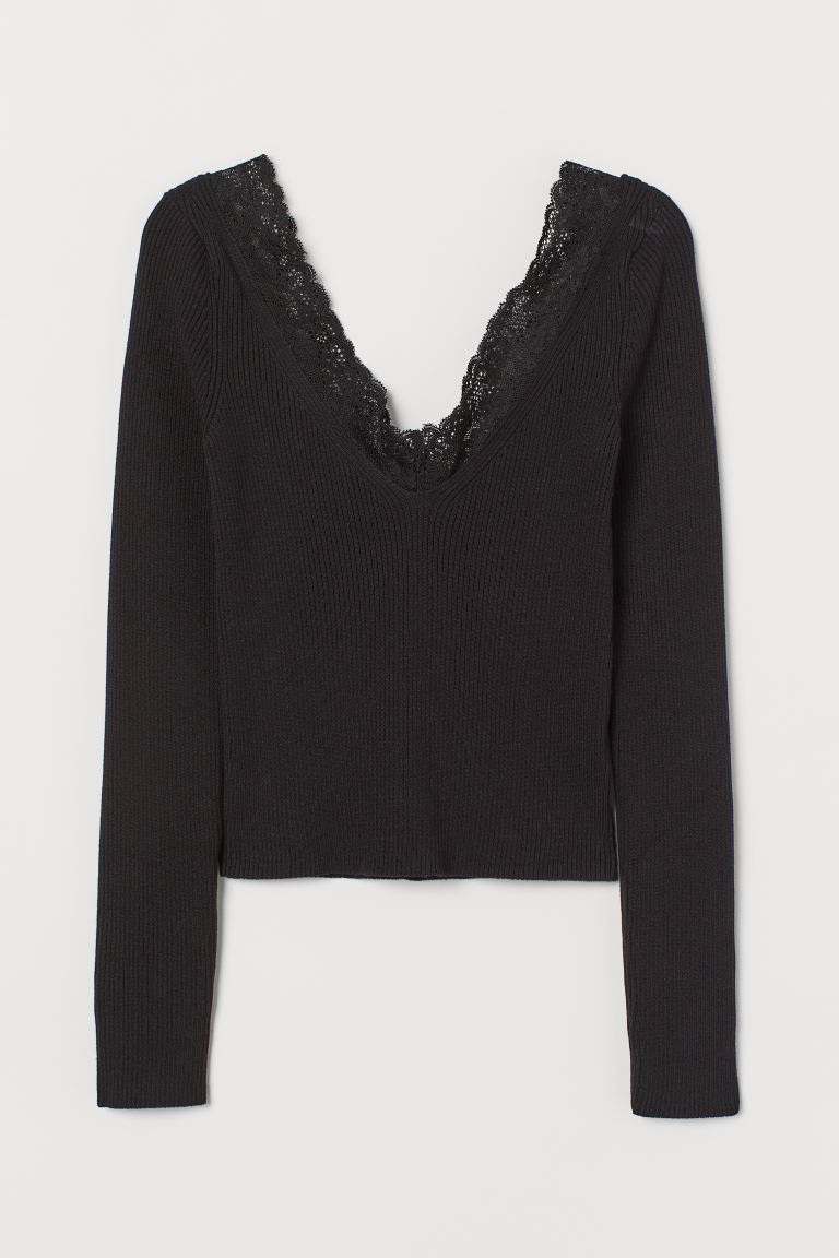 Ribbed Top with Lace - Black - Ladies | H&M US
