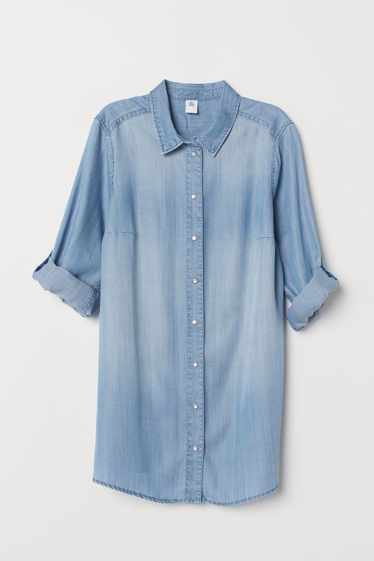 MAMA Lyocell Shirt - Light denim blue - Ladies | H&M CA