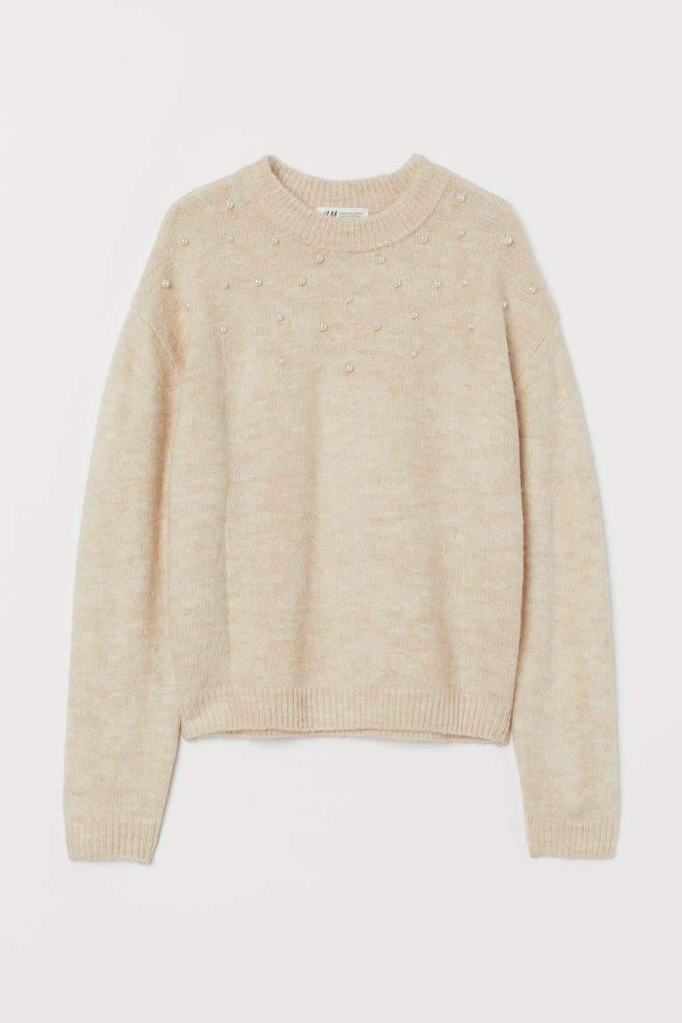 Knit Sweater - Light beige/beads - Kids | H&M US