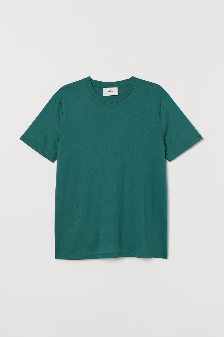 T-shirt in cotone e seta - Verde - UOMO | H&M IT