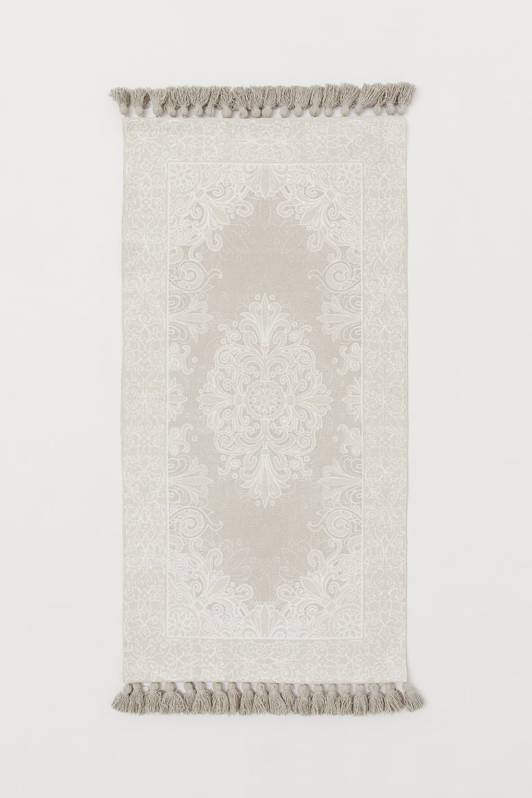 Tappeto in cotone con nappine - Beige chiaro/fantasia - HOME | H&M IT