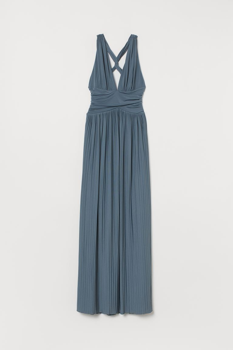 Pleated maxi dress - Dark turquoise - Ladies | H&M