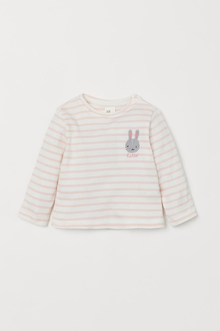 Ribbed embroidered top - Light pink/Rabbit - Kids | H&M GB