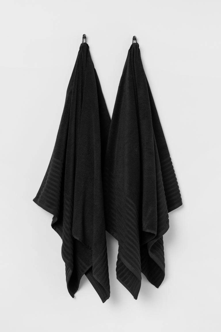 2-pack bath towels - Black - Home All | H&M GB