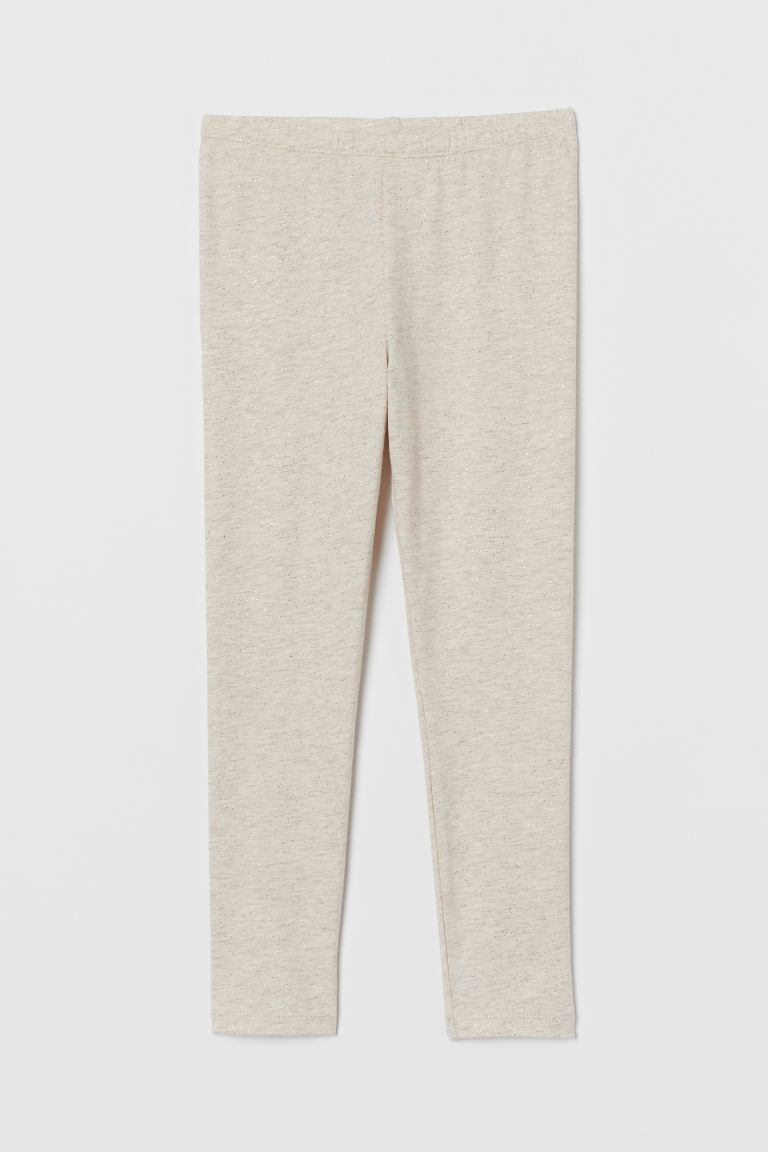 Cotton leggings - Light beige marl/Glittery - Kids   H&M GB