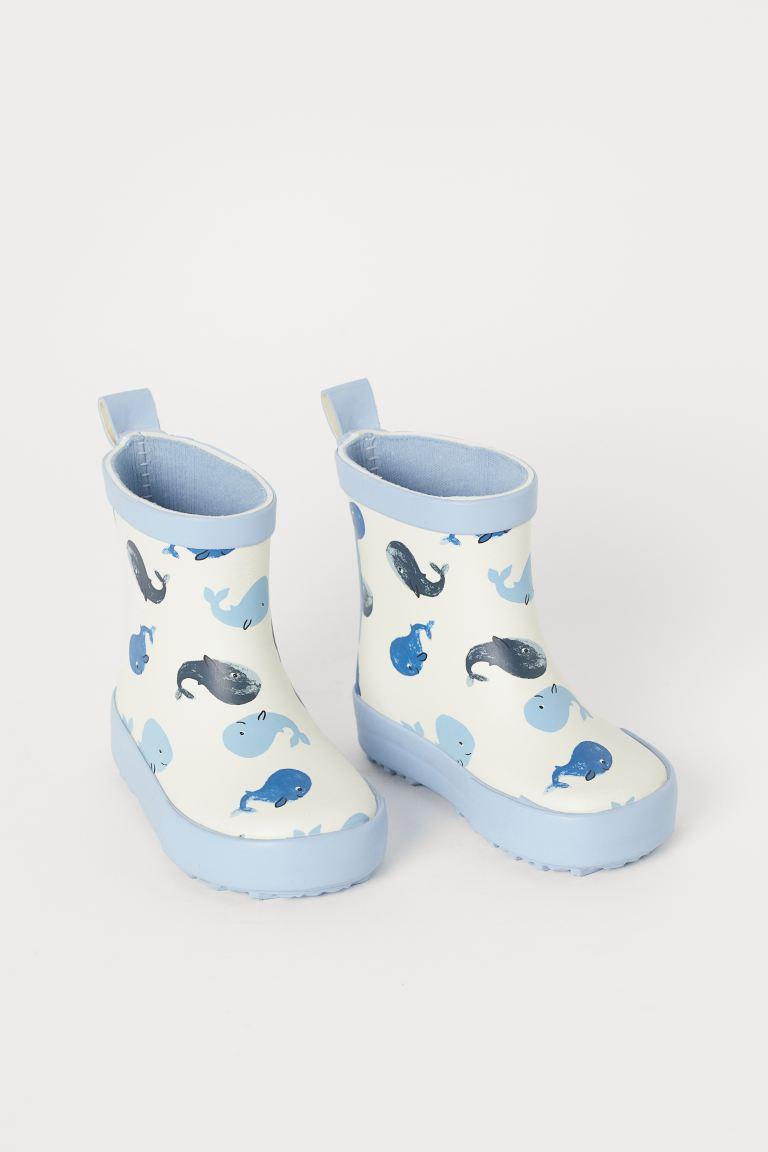 Patterned Rubber Boots - Natural white/whales - Kids | H&M CA