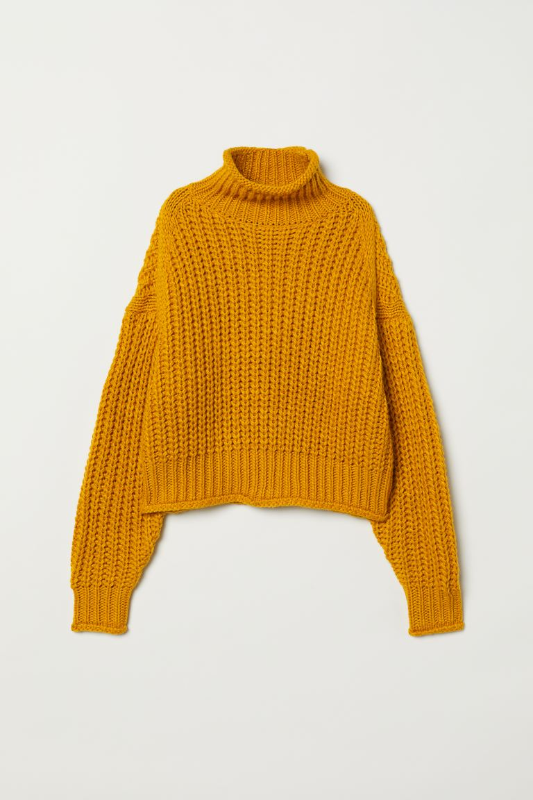 Ribbed polo-neck jumper - Dark yellow - Ladies | H&M GB