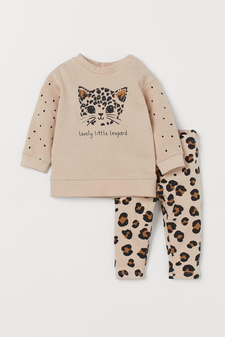 2-piece cotton set - Light beige/Leopard - Kids | H&M GB