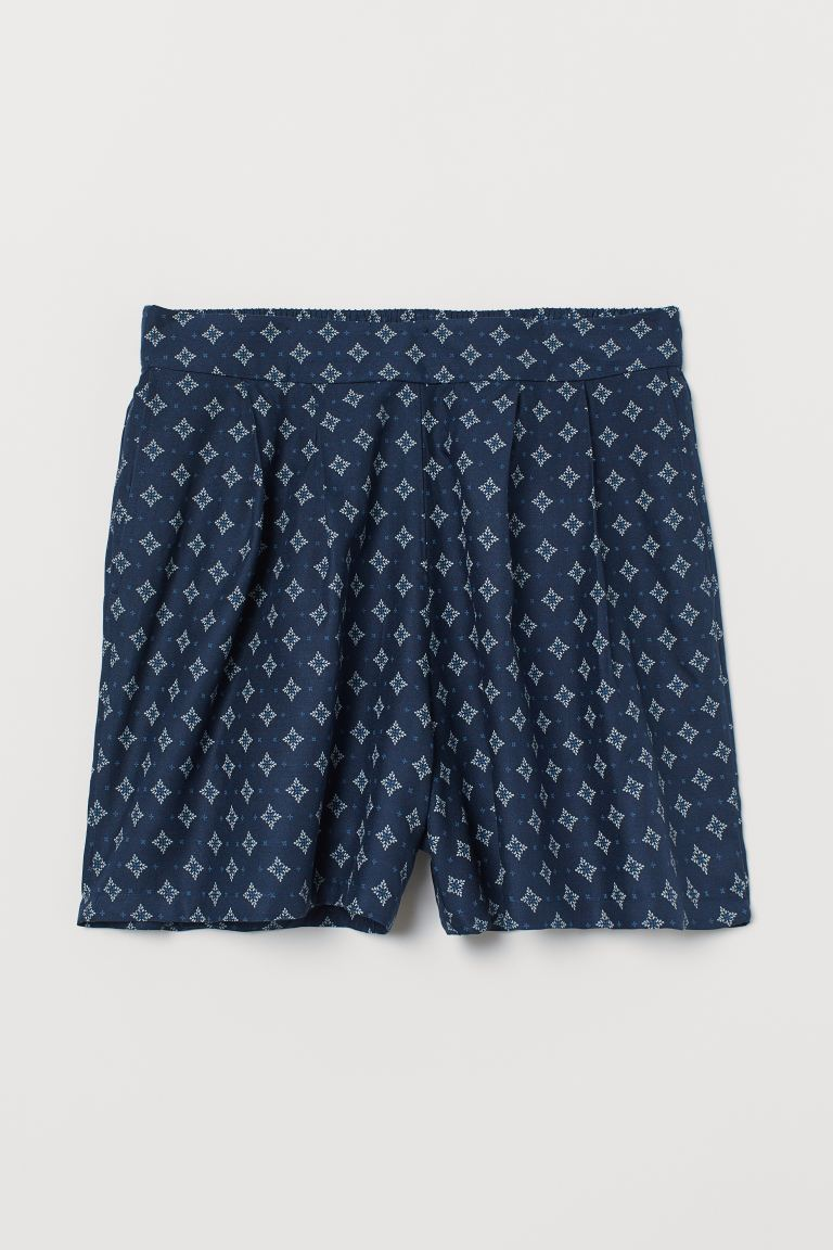 Patterned shorts - Dark blue/Patterned - Ladies | H&M