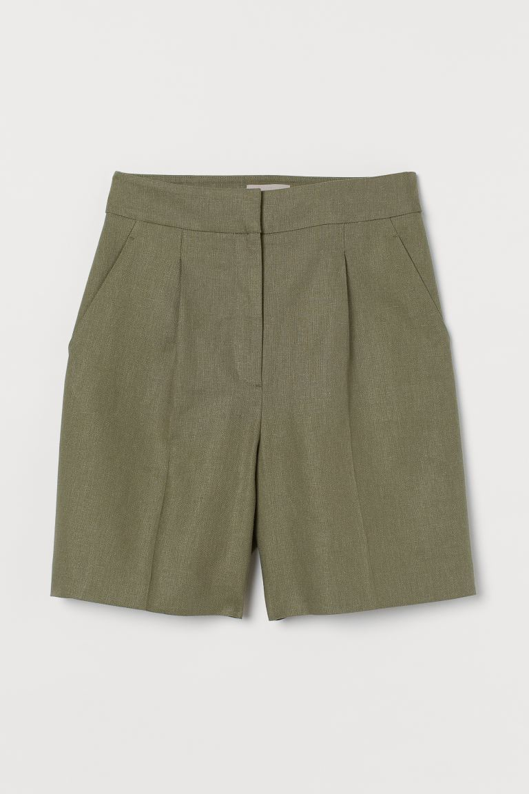 Shorts in lino - Verde kaki - DONNA | H&M IT