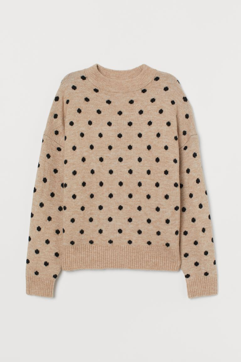 Fine-knit jumper - Beige marl/Black spotted - Ladies | H&M IE