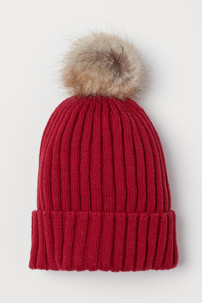 Ribbed hat - Red - Kids | H&M IN