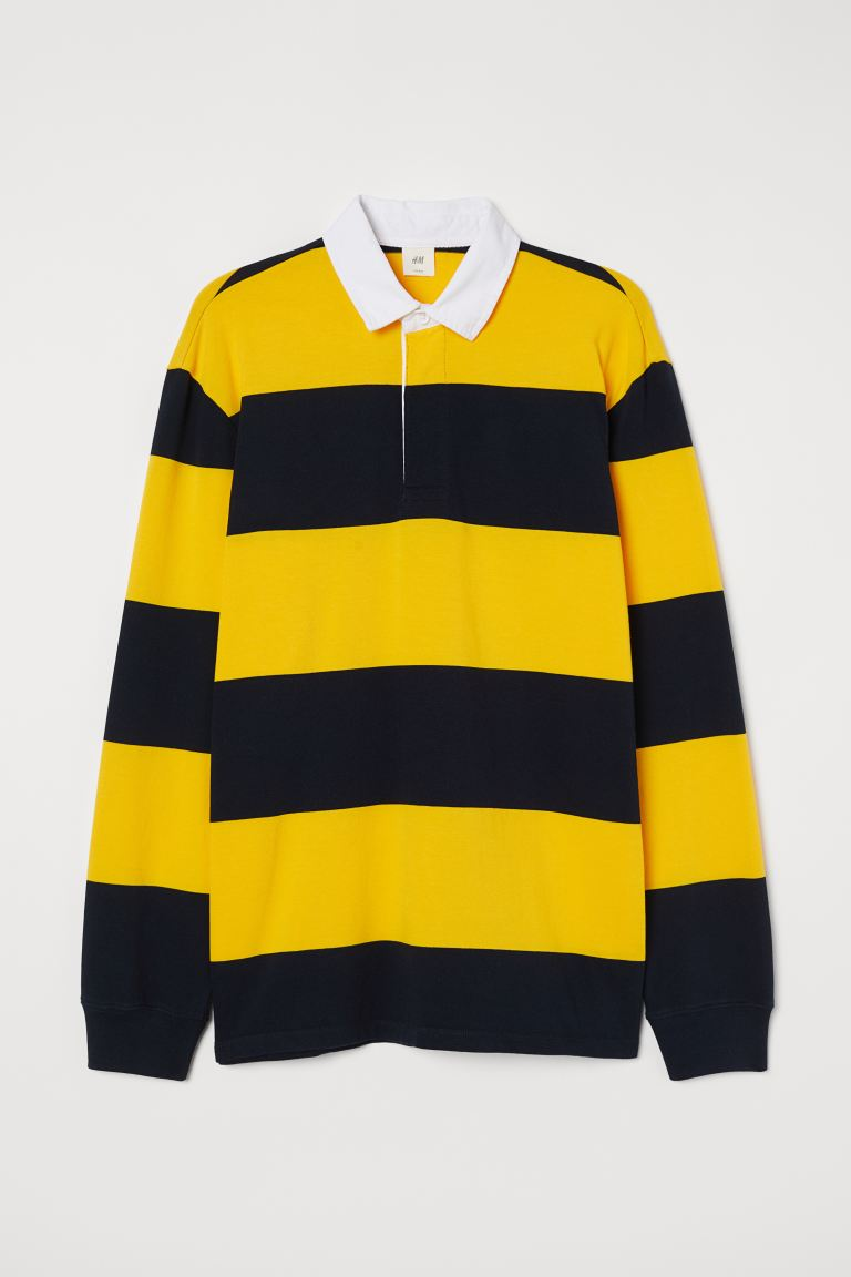 Rugby Shirt Yellow Blue Striped Men