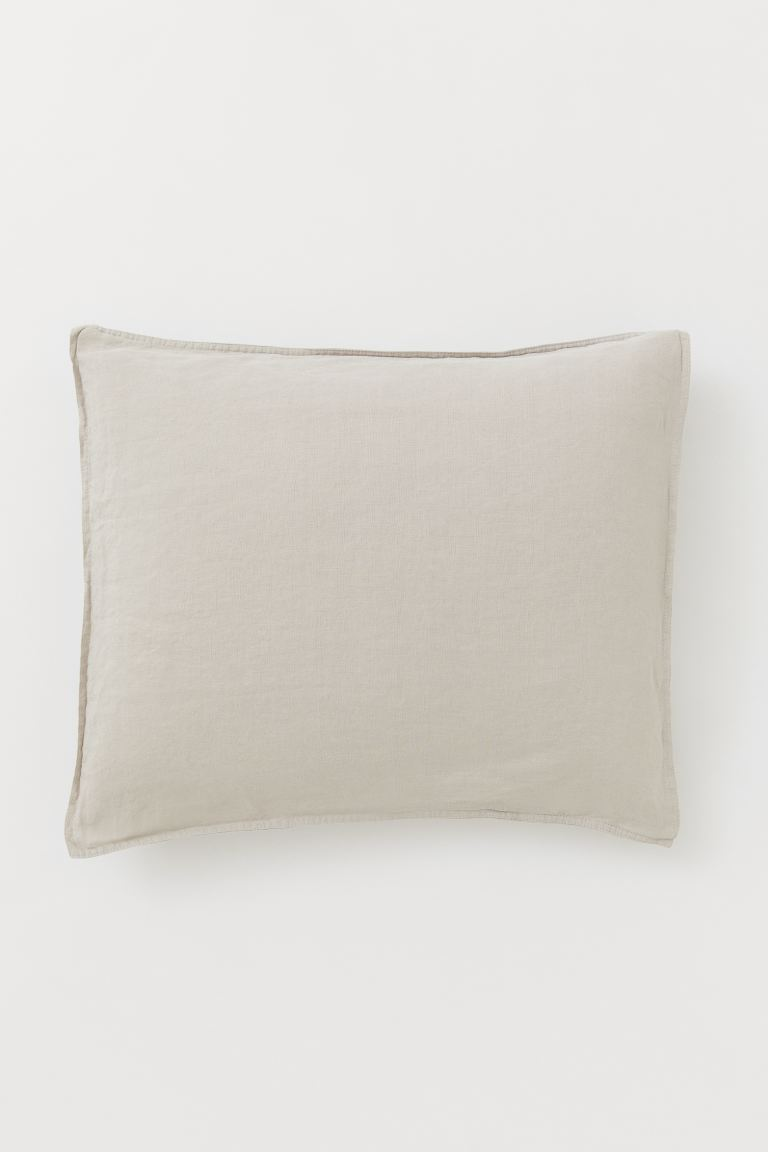 Washed Linen Pillowcase - Beige - Home All | H&M US
