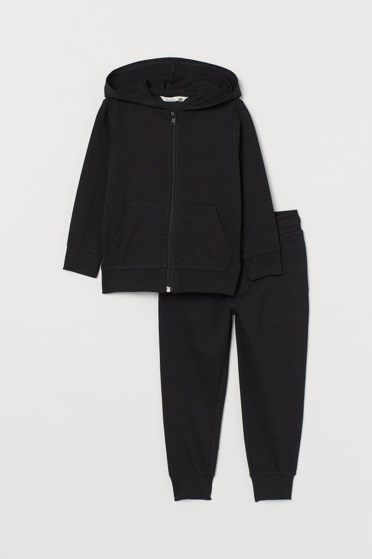 2-piece cotton set - Black - Kids | H&M GB