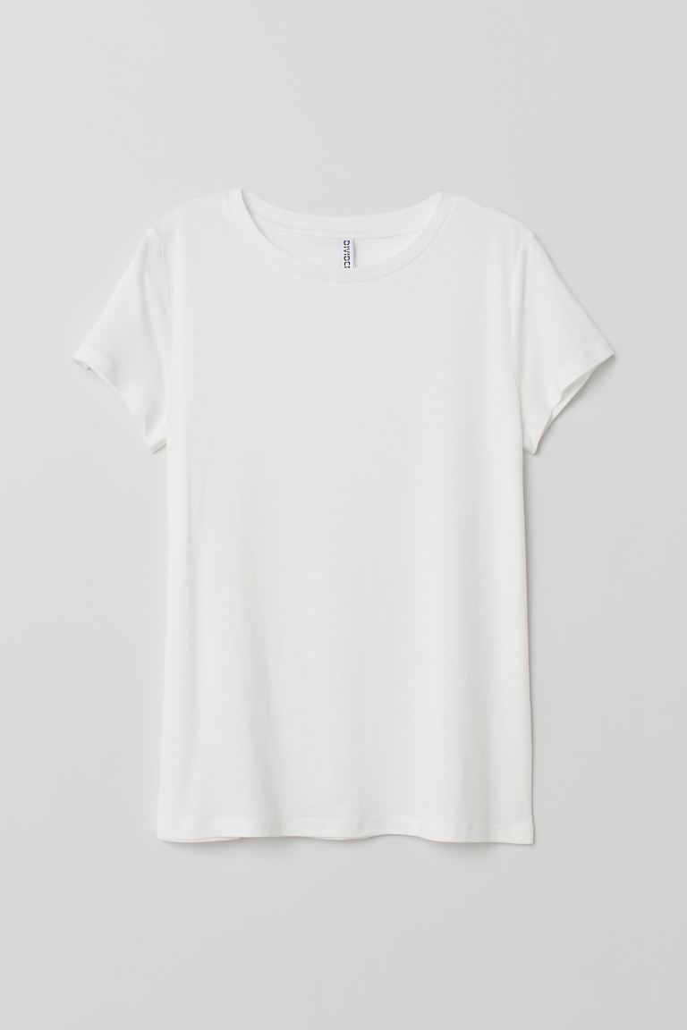 Jersey T-shirt - White - Ladies | H&M CA