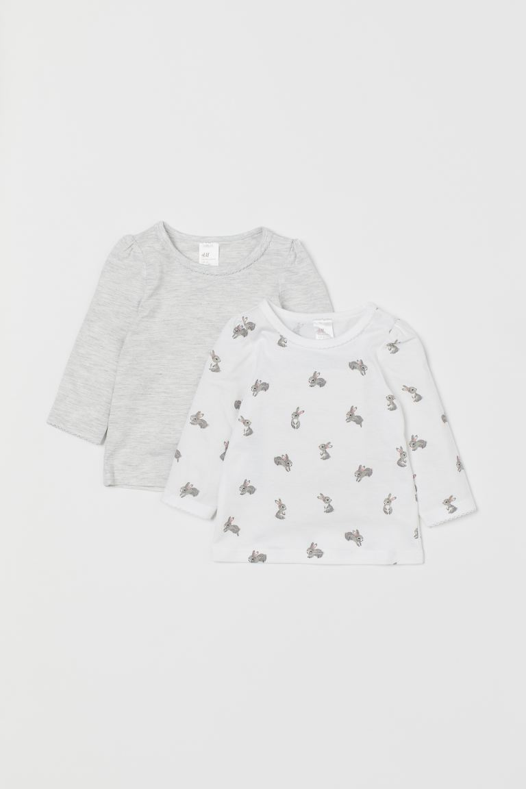 Tops, lot de 2 - Blanc/lapins - ENFANT | H&M FR