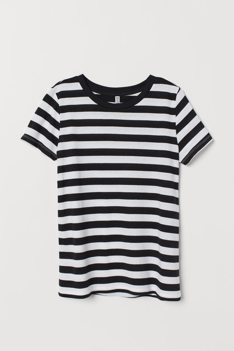 Jersey T-shirt - Black/White striped - Ladies | H&M