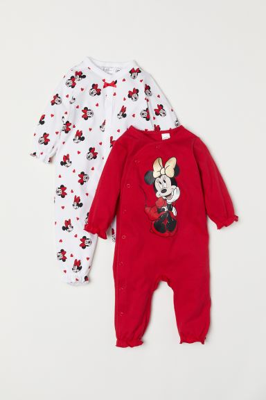 2-pack all-in-one pyjamas - Red/Minnie Mouse - Kids | H&M
