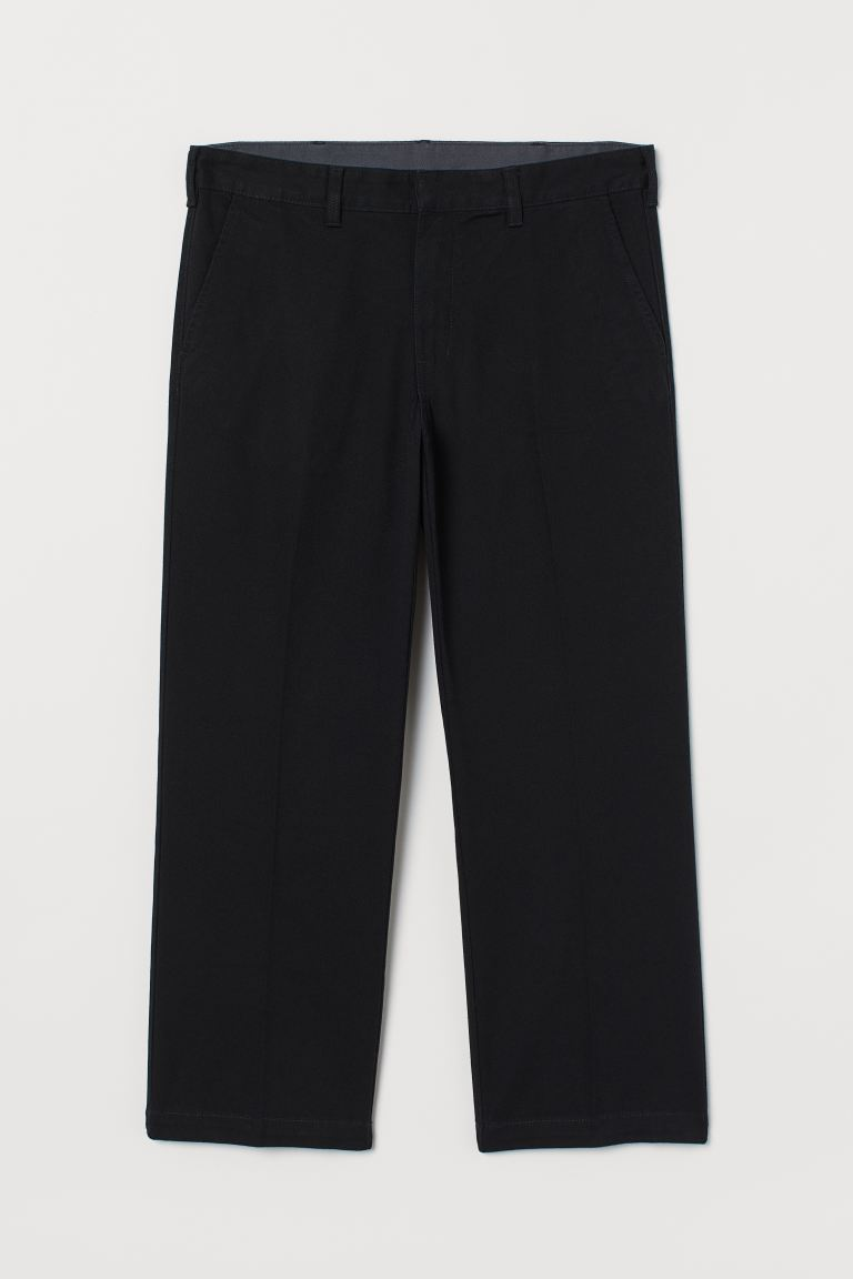 Ankle-length Cotton Chinos - Black - Men | H&M US