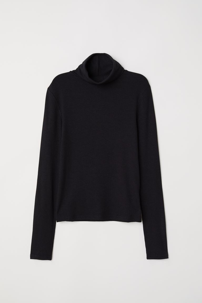 Ribbed Turtleneck Top - Black - Ladies | H&M US
