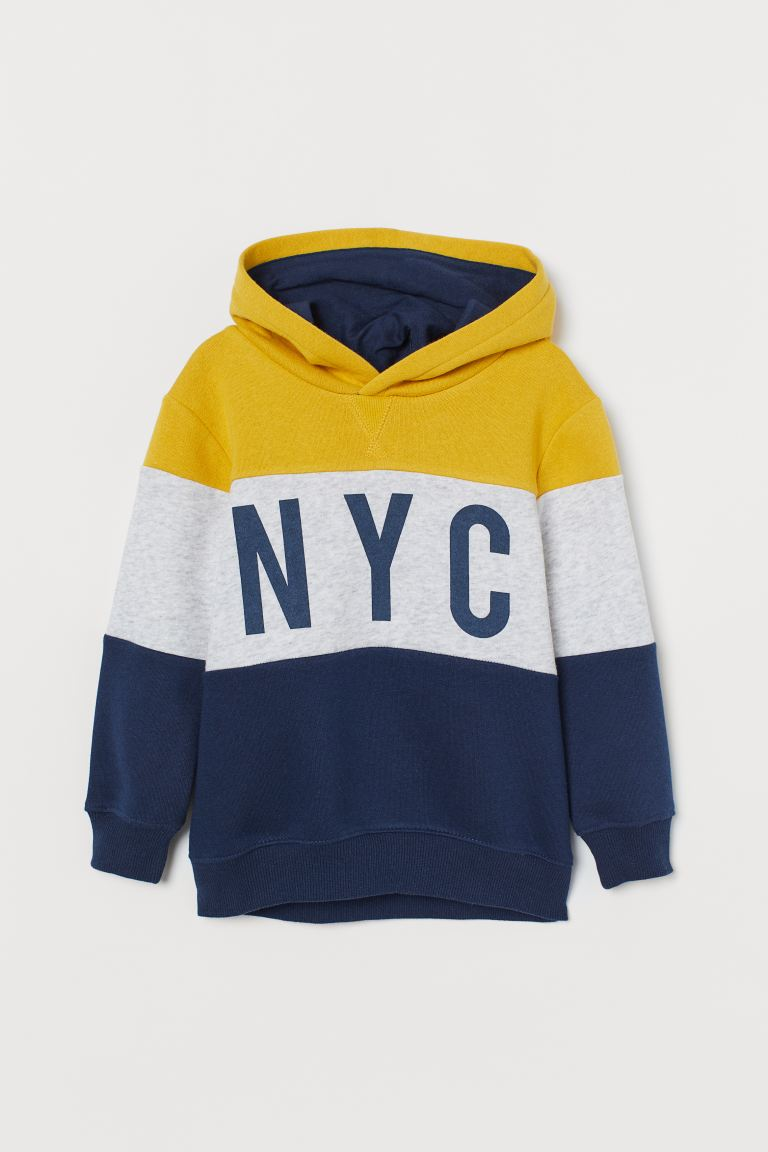 Hooded jumper - Yellow/Block-coloured -  | H&M GB